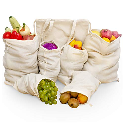 Produce Bags Reusable Cotton Mesh  7 Pcs Washable Ecofriendly Zero Waste Canvas Grocery and Storage Bags 3 Sizes with Drawstring and Shoulder bag transformable in one Backpack for Shopping Fresh Longer Food Fruit Vegetables Toys
