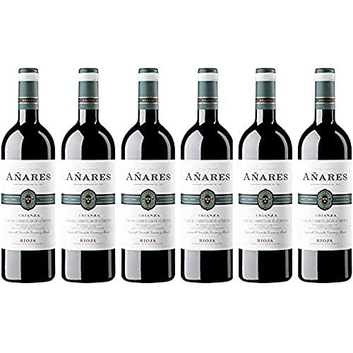 Añares - Vino Tinto Crianza, DOCa La Rioja, Vino de Gran Presencia de Bodegas Olarra, Pack de 6 botellas de 750 ml