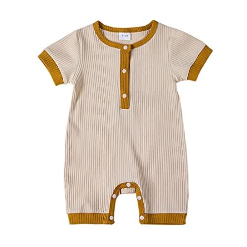 Alunsito Bebé Niño Niña Corto Mameluco De Manga Corta Sólido Costilla Corto Mono Verano De Una Pieza Trajes De Ropa, blanco, 18 meses