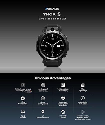 Zeblaze THOR S 1.39 pollici Super AMOLED da 1 GB + 16 GB 3G GPS WIFI Camera Cardiofrequenzimetro Smart Watch