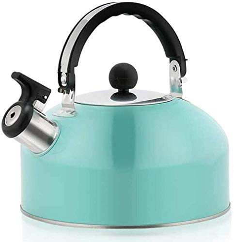 Bouilloire induction Home Kettle 3L En acier inoxydable Bouilloire sifflant avec bec rétro traditionnel for la plaque de cuisson ou la cuisinière Top 19x18.5cm WHLONG (Color : Blue)