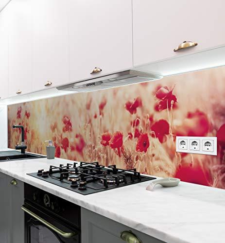 MyMaxxi | selbstklebende Küchenrückwand Folie ohne bohren | Aufkleber Motiv Blume 04 | 60cm hoch | adhesive kitchen wall design | Wandtattoo Wandbild Küche | Wand-Deko | Wandgestaltung