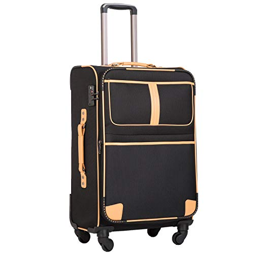 COOLIFE Stoff-Koffer Rollkoffer Leichtgewicht Reisekoffer Vergrößerbares Gepäck mit TSA-Schloss und 4 leiser Rollen (Schwarz, Großer Koffer)