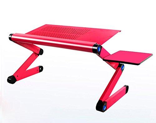HQQ Tragbarer faltender Laptop-Stand, Laptop-Monitor-Halter mit freiem Mäusevorstand-justierbarem Laptop-Computer-Stand (Farbe : Rose rot, größe : Air Permeable Hole)