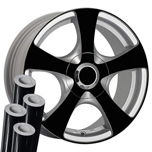 "VViViD Black High Gloss Mirror Finish Auto Rim Air-Release Adhesive Vinyl Wrap (24"" x 30"" 4 Roll Pack)"