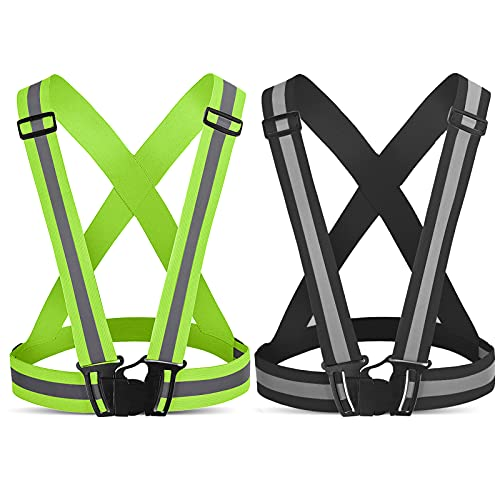 ANDAST Reflective Running Vest,2Pack Safety StrapsReflective Vest Running Gear for Night Cycling,Hiking, Jogging,Motorcycle,Dog Walking(Green and Black)