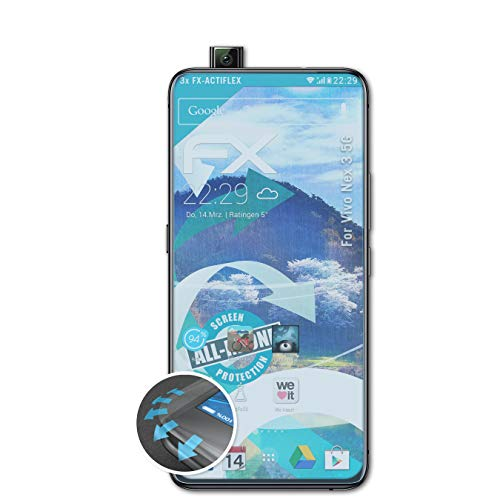 atFolix Schutzfolie kompatibel mit Vivo Nex 3 5G Folie, ultraklare & Flexible FX Bildschirmschutzfolie (3X)