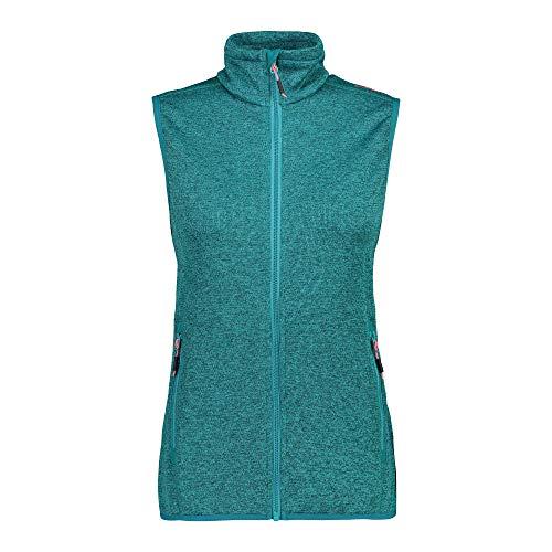 CMP Damen Fleeceweste Knit Tech Full Zip 30H5876 Weste, Lake-Ceramic, D42