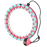Weighted Hula Fitness Hoop, Exercise Hoops for Adults Weight Loss Home Exercise and Fitness Equipment, Smart Hoola Hoop with 360° Massage and 24 Adjustable Sections (Pink)