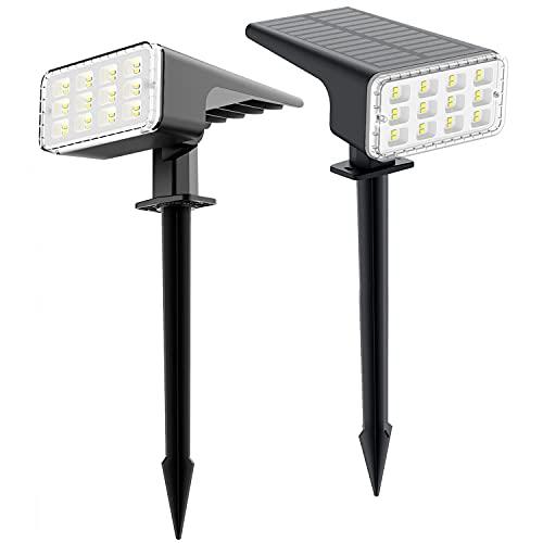 Punoge Faretti Solari Esterno, 24 LED Faretto da Giardino, Lampione Solare Impermeable IP67, Luci Solari Esterno per Cortile, Stradale, Portico, 2 Pezzi Bianco Freddo
