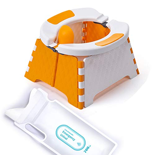 Folding Potty Training Seat for Kids, EYU Travel Potty, Portable Toddler Toilet for Daily Use, Also as Car or Camping Toilet, Regardless of Gender of Toddler Potty Seat (Orange)