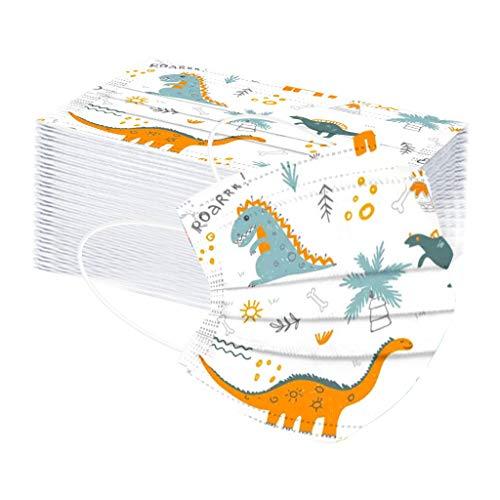 Bumplebee 50 Stück Kinder Mundschutz mit Motiv Bunt MNS Mund Nasenschutz Cartoon Druck Maske Tücher Atmungsaktiv Mund-Tuch Bandana Halstuch Schals