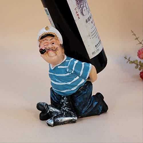 SHIYZII Decoratie thuis ambachten, hars ambachtelijke schommels creatieve figuur wijnrek rook zeeman wijn rek huisdecoratie