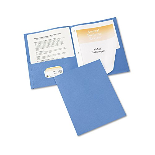 AVERY Two Pocket Folders with 3 Prong Fasteners, Holds 70 Sheets, 25 Blue Folders (47976), 12-Pack