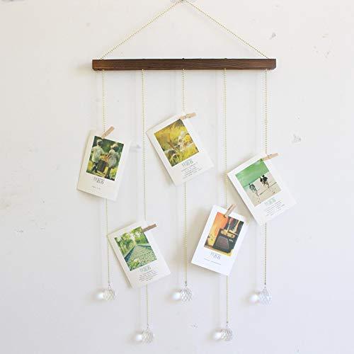 Dkhsy Hanging Photo Display Picture Frame Macrame Wall Hanging Organizador de fotos con 20 piezas Clip Boho Home Decoration Craft