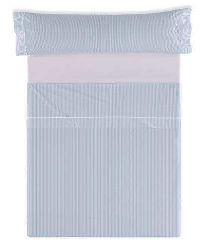 ESTELIA - Juego de sábanas Greta Color Azul - Cama de 150 (3 Piezas) - 100% algodón - 200 Hilos