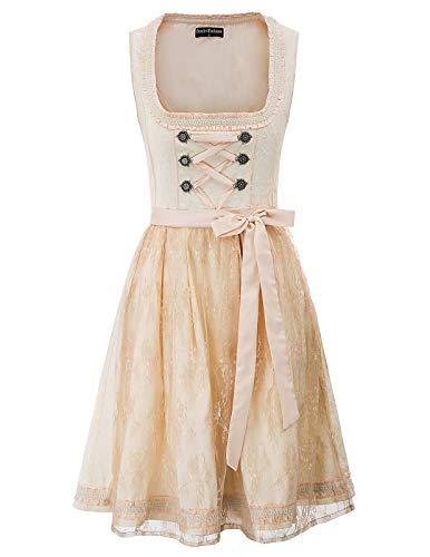SCARLET DARKNESS Dirndl Damen Vintage Midi Trachtenkleid mit Dirndlschürze Elegant Schaukelrock Trachtenmode für Oktoberfest 2XL