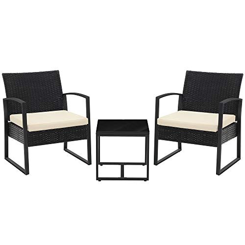 SONGMICS 3-Piece Patio Set Outdoor Patio Furniture Sets, PE Rattan, Outdoor Seating for Bistro Front Porch Balcony, Easy to Assemble, 2 Chairs and 1 Table, Black and Beige UGGF010M01