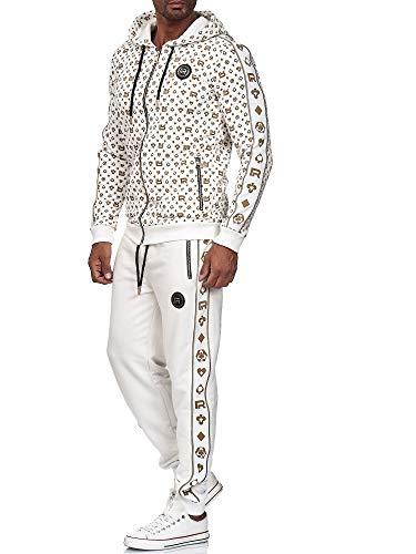 Red Bridge Herren Jogginganzug Sweat Suit Set Jacke Hose Allover Premium M2158-M4238 Ecru M