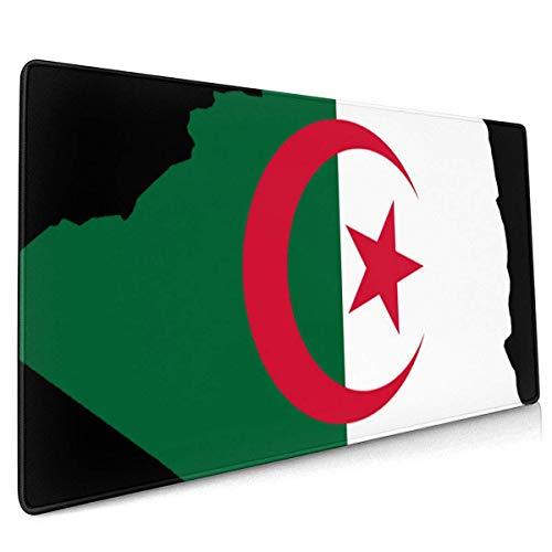 Alfombrilla de Ratón Grande Mapa de la Bandera de Argelia Gaming Mouse Pad XXL Superficie Suave y Impermeable con Base de Goma Antideslizante 800X300X3 mm