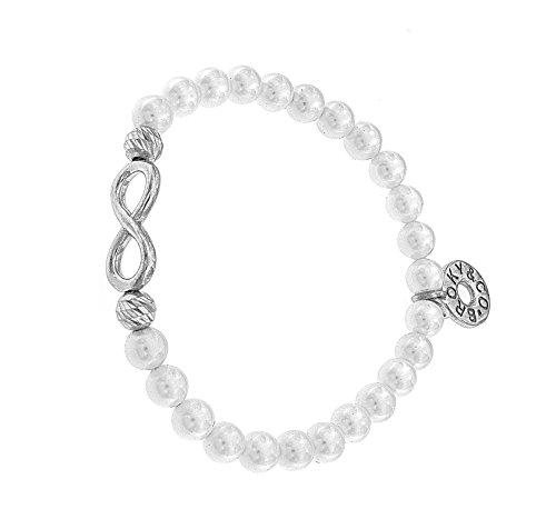 BROKY & Co–Pulsera elástica Infinito de Plata 925rodiada con perlas de concha