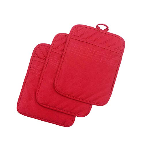 "Anyi Pot Holders and Oven Mitts 7"" X 9"" Heat Resistant Cotton Pocket Pot holder Set Feature of Non Slip Kitchen Hot Pad Oven Mitts, 3-pack, Red"