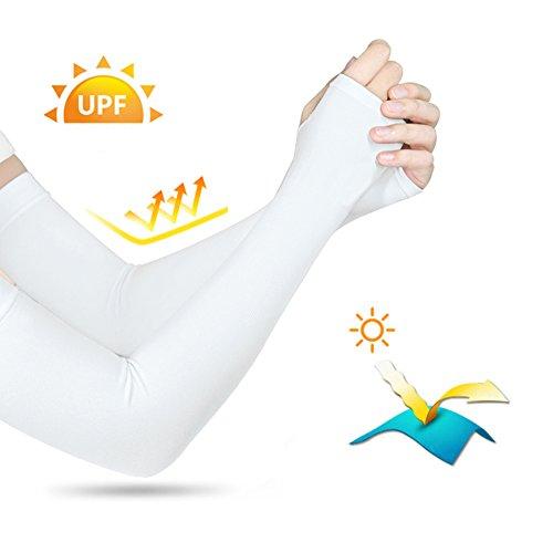 ANSUG 4 Paar UV-Armschutz für den Außenbereich, Atmungsaktiver Armwärmer, Sonnenschutzmanschette mit Mückenschutz-Armband – Unisex - 3