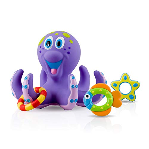 Nuby Floating Purple Octopus with 3 Hoopla Rings...