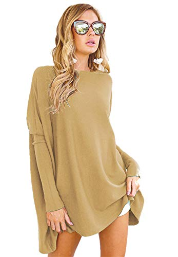 LIYOHON Women's Tunic Tops for Leggings Casual Oversized Shirts Batwing Long Sleeve Loose Fitting Lounge Tops Tunics (YH-Khaki,XX-Large)