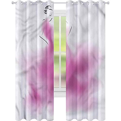 Cortinas opacas para dormitorio, niñas, vestido de novia abstracto Vogue W52 x...