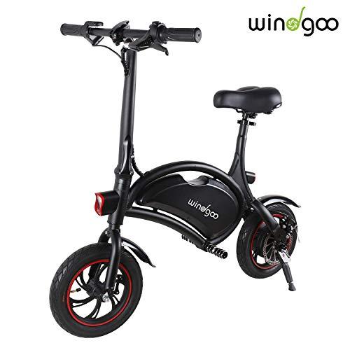 """Windgoo Bicicleta Electrica Plegables, 350W Motor Bicicleta Plegable 25 km/h y 15 km, Bici Electricas Adulto con Ruedas de 12"""", Batería 36V 6.0Ah, Asiento Ajustable, sin Pedales"""