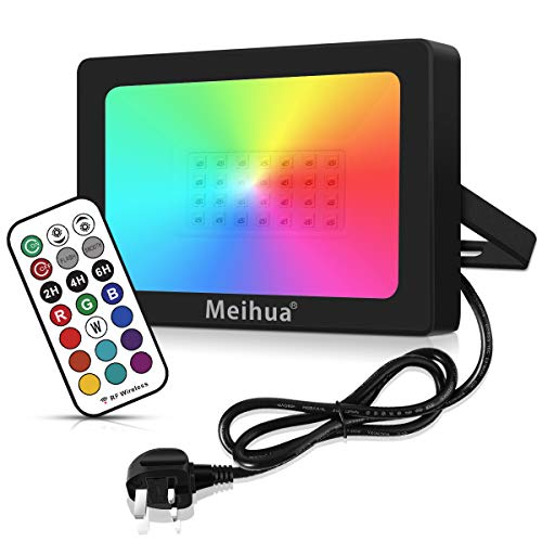 MEIHUA 35W RGB Flood Lights Outdoor Garden Lights 360 Degree RF Remote Control Auto Timer Color Changing Led Flood Lights for Christmas Halloween Outdoor Decorations Stage Lights Pond Gazebo Light