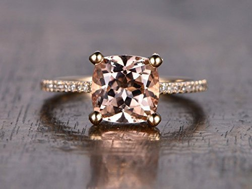 Pink Morganite Engagement Ring Solid 14k Rose Gold 8mm Cushion Cut Half Eternity Natural Diamond Wedding Band Solitaire Women Bridal Anniversary Gift for Her Promise