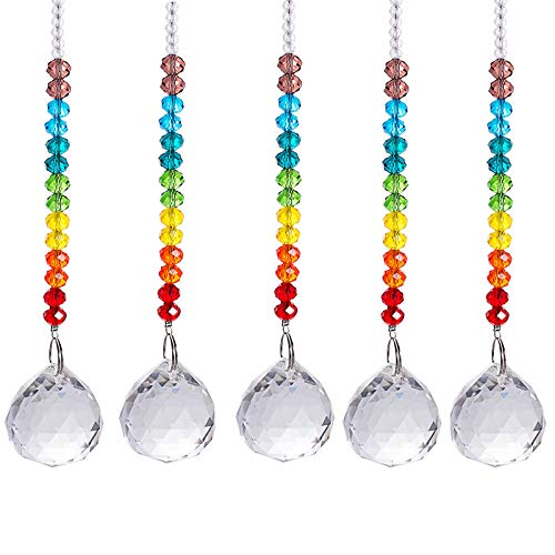 Crystal Suncatcher Color Crystal Ball Prism Hanging Rainbow Maker Clear Crystal Pendant for Home Wedding Decoration 5 Piece Set