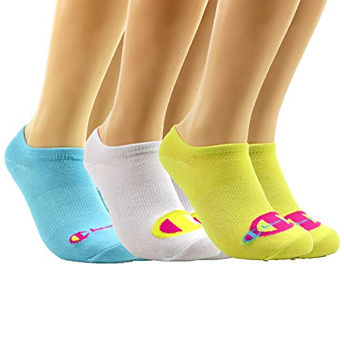 Champion LIFE Women's Multi Logo Super No Show Socks 3-Pack, Journey Yellow/White/Sea Green, Shoe Size: 5-9