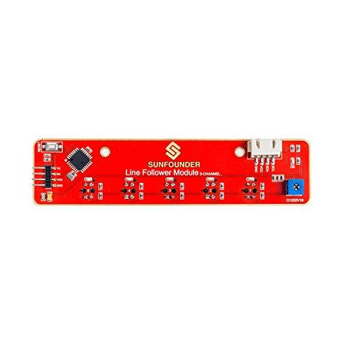 SunFounder sensore di tracciamento della linea, rilevatore IR a infrarossi I2C, Modulo Segui Linea a 5 Canali per Raspberry Pi Arduino Smart Car Robot Robotics MCU ATMEGA328P TCRT5000.
