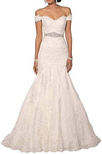 Melisa Off The Shoulder Wedding Dresses for Bride with V Neck Beading Sash Lace Applique Bridal Ball Gown White