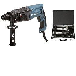 Makita HR 2470 SDS-Plus Rotary Hammer + Makita D-42444 SDS + Drill Bit / Chisel Set 17tlg, 1 W, 1 V