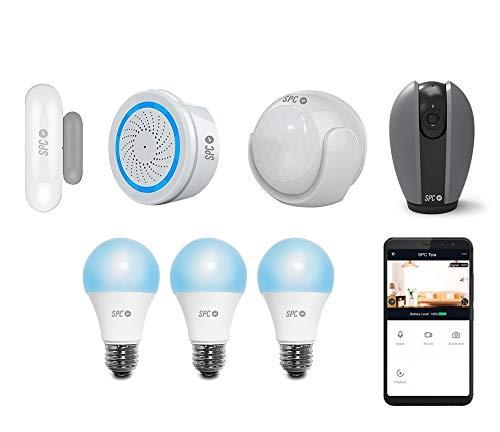 SPC 6910K2 Security Starter Kit (2 sensores: Movimiento y Puertas/Ventanas, Alarma) + Cámara Interior 360º Smart Bombillas Inteligentes, Compatible con Amazon Alexa y Google Home