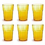 Omada Design Set di 6 bicchieri di plastica in vetro o long drink, 14,95 OZ, alti 4,91 pollici, infrangibili, ottagonali, impilabili e lavabili in lavastoviglie, gialli