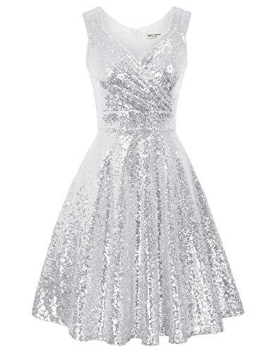1950er Kleid Damen cocktailkleid ärmellos a Linie Kleid Vintage Kleid elegant Kleider CL1061-7 L