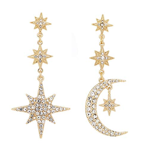 Gold Plated Mix And Match Stars And Moon Drop Earrings Gold