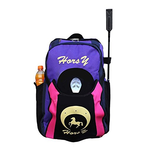 UNISTRENGH Professional Horse Riding Boot Bag Helmet Bag Parent-Child Equestrian Horse Riding Backpack with Hat Compartment (Purple, for Child)