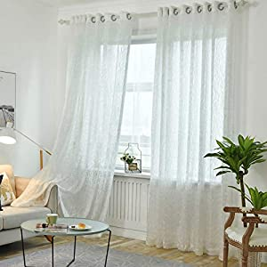 Sheer Curtains Linen Look Semi Sheer Curtain Drapes for Living Room Bedroom Nursery Kitchen Bathroom Privacy Voile Window Treatment 1 Panels (Color : White, Size : 350270cm)