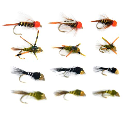 Outdoor Planet 12 Prince Nymph/Beadhead Gold Ribbed Hare's Ear/Rubber Legged Hare's Ear Mayfly Fly Lure Assotment for Trout Fly Fishing Flies