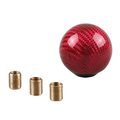 RYANSTAR Carbon Fiber Shift Knob Gear Shifter Knobs with 3 Adapters Round Ball Stick Shifter Level Red
