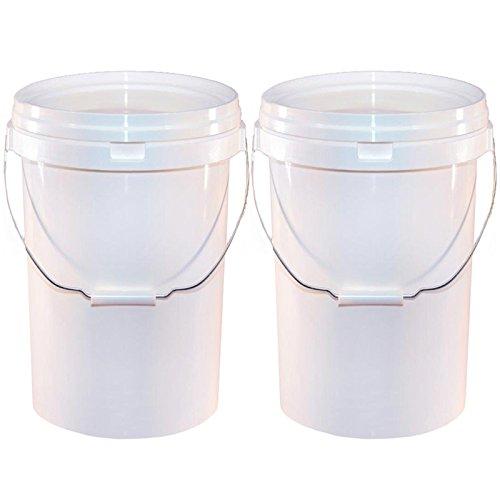 2 x seaux de lavage, contenance 20 litres, en plastique blanc – pour lavage de voiture