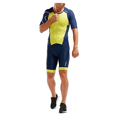 2XU Perform Triathlon Full Zip Einteiler mit Arm Herren Größe XXL, Farbe Navy/Limonade
