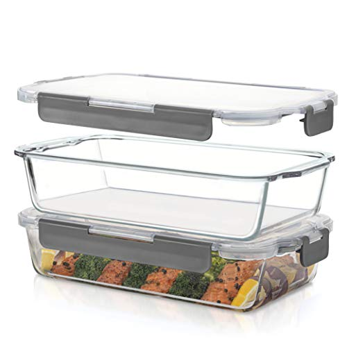 Superior Glass Casserole Dish with lid - 2-Piece Glass Bakeware And Glass Food-Storage Set - 100% Leakproof Casserole Dish set with Hinged BPA-Free Locking lids - Freezer-to-Oven-Safe Baking-Dish Set.