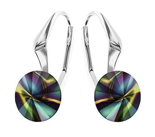"""Crystals & Stones """"Rivoli"""" - Orecchini da donna, con cristalli di Swarovski Elements, ideale come regalo per donna o ragazza, Pin/75, 8 mm, vari colori e Argento, colore: Rainbow Dark, cod. 7"""